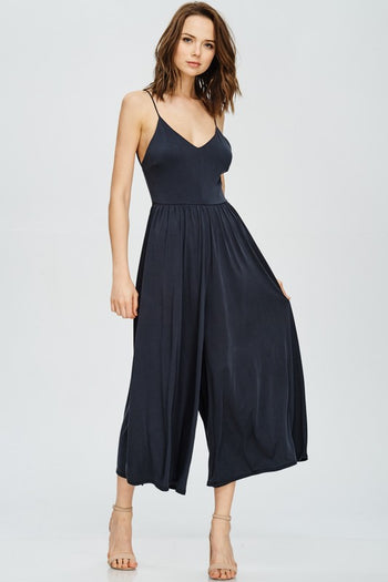 Cross My Back Wide Leg Jumpsuit in Black | Necessary Clothing