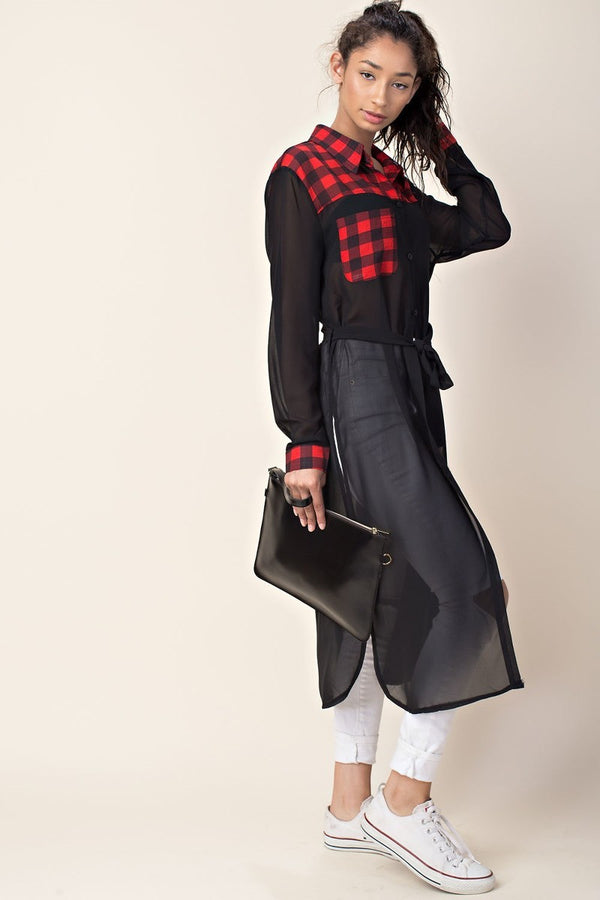 Downtown Sheer Plaid Long-Sleeve In Black | Necessary Clothing