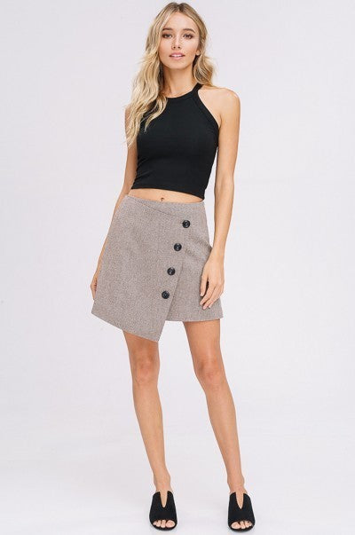 Asymmetrical Wollen Wrap Skirt in Mocha | Necessary Clothing