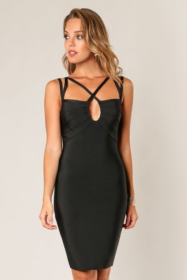 Shut Your Keyhole Bodycon Dress in Black | Necessary Clothing