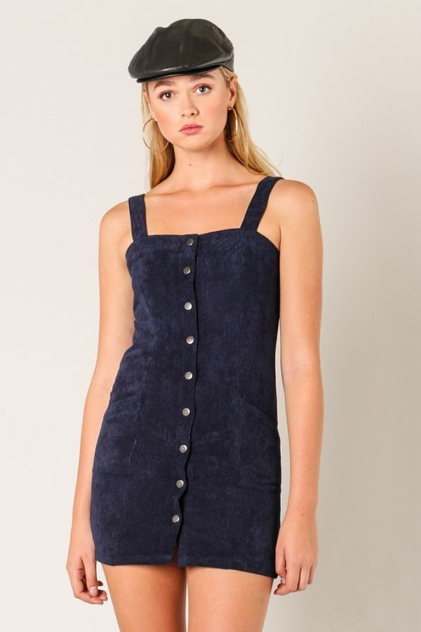 A-Corduroy To You Mini Dress in Navy | Necessary Clothing