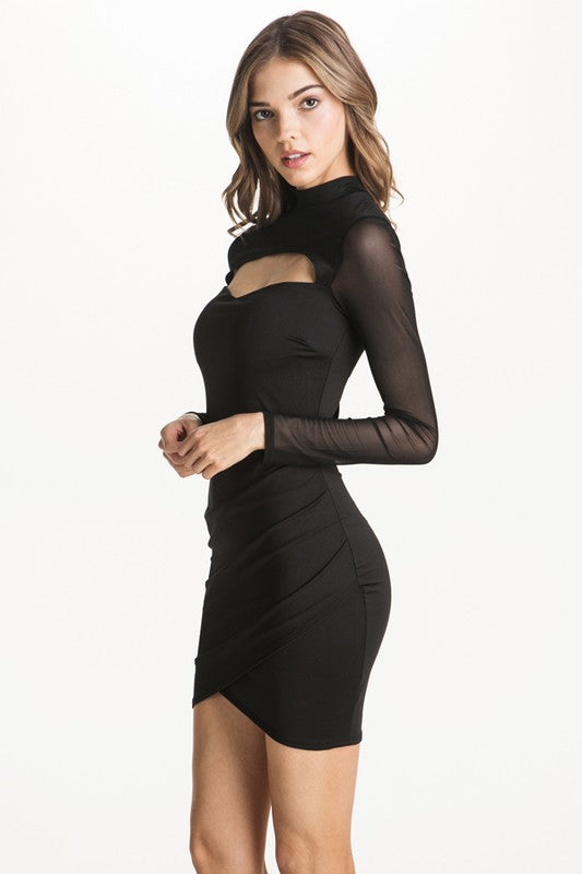 Midnight Mesh Long Sleeve Dress in Black | Necessary Clothing