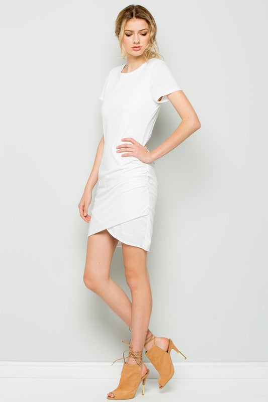 Wrapped Around Your Finger Mini Dress in Ivory