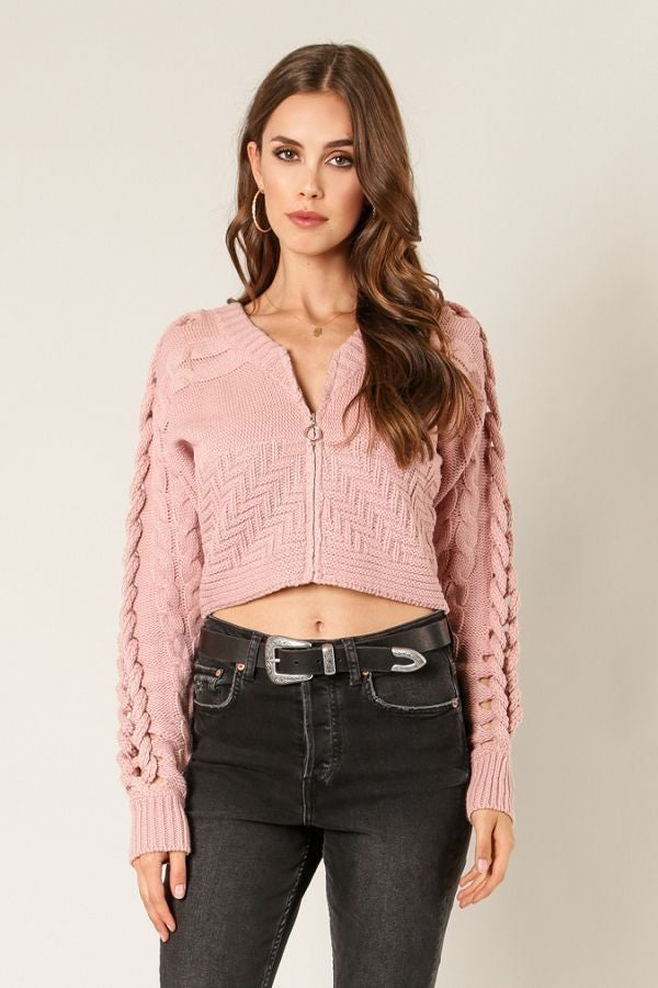 Switch To Cable Crop Sweater in Mauve | Necessary Clothing