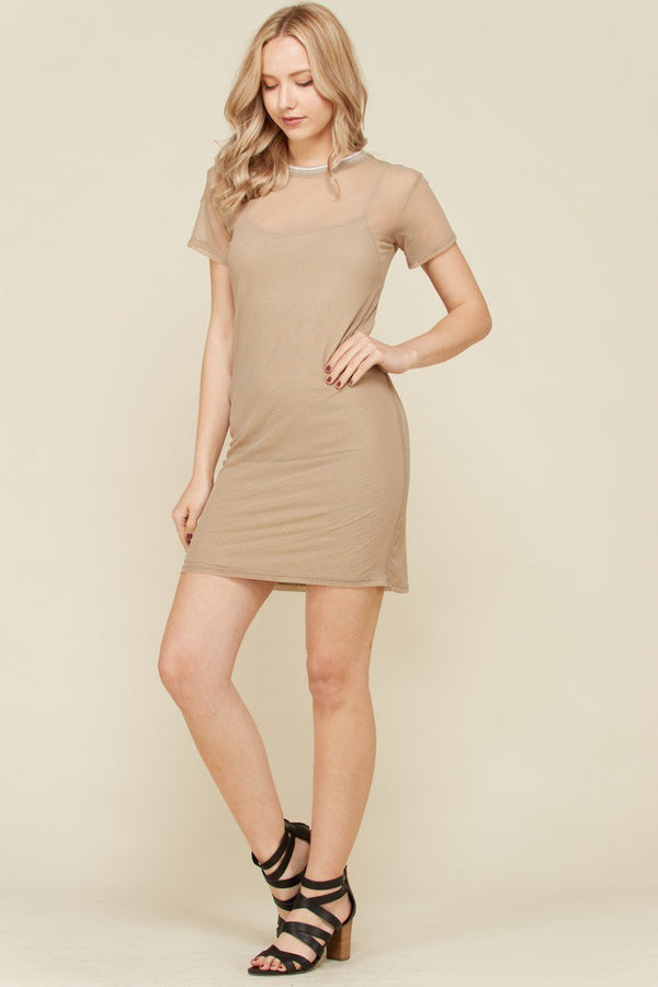 Lets Move Mesh Tennis Dress in Taupe | Necessary Clothing