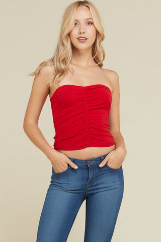Front Ruched Tube Top in Red