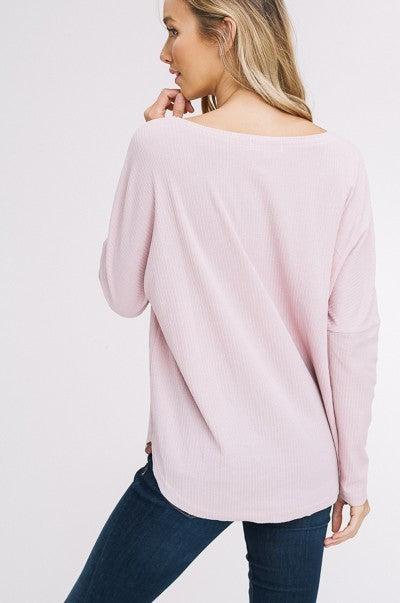 Cozy Long Sleeve Knitted Top in Mauve | Necessary Clothing