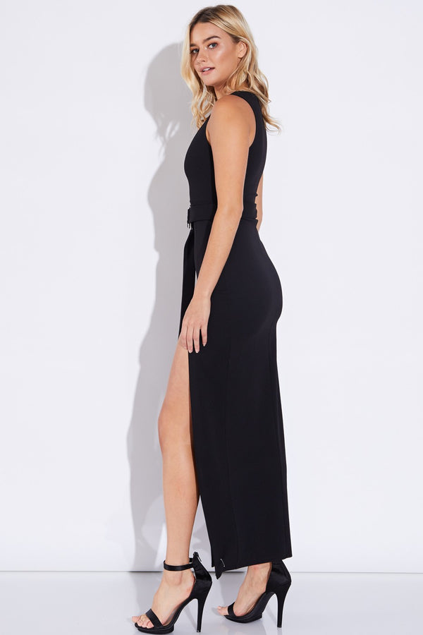 Get Your Slit Together Maxi Dress in Black | Necessary Clothing