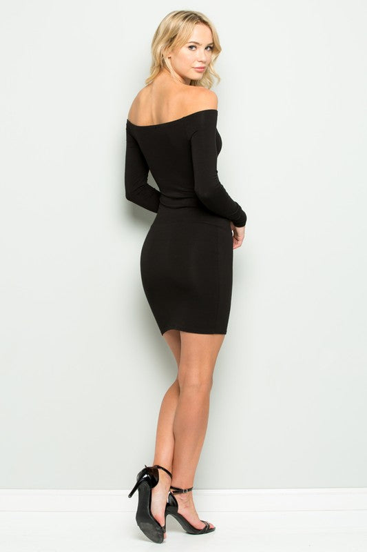 Shoulder The Burden Mini Dress in Black | Necessary Clothing