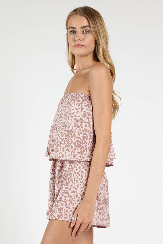 Pink Lady Leopard Print Romper in Pink