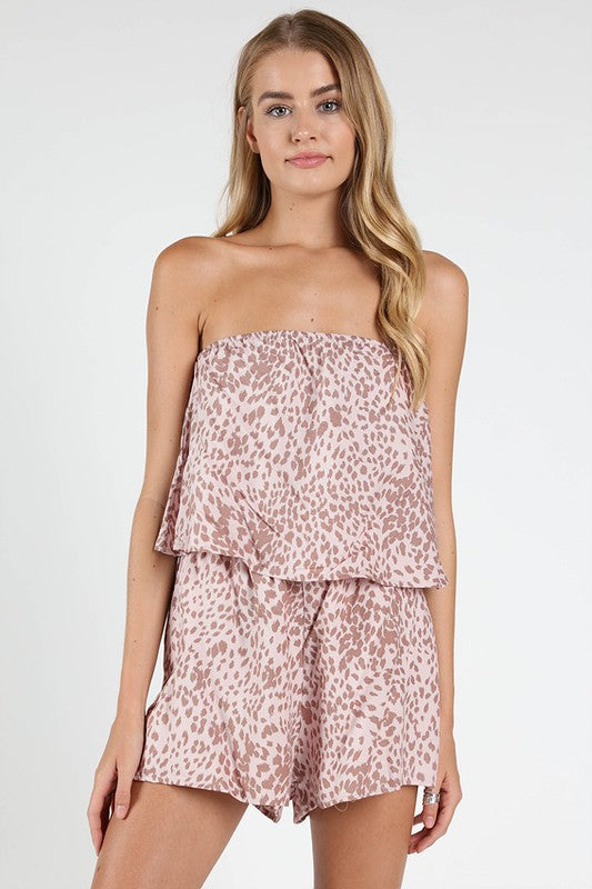 Pink Lady Leopard Print Romper in Pink | Necessary Clothing