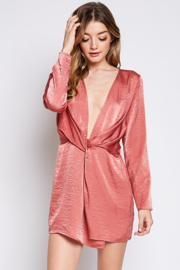 Satin Nights Mini Dress in Marsala | Necessary Clothing