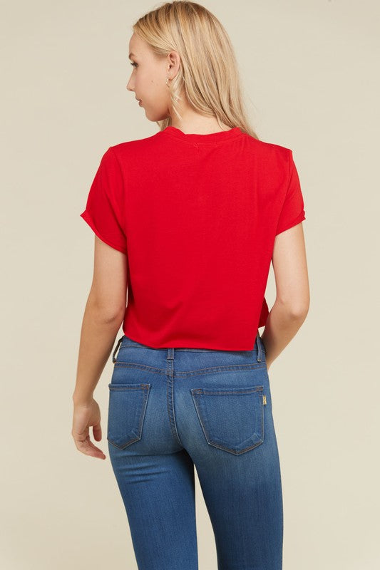 Trapped In A Box Cropped Tee in Red | Necessary Clothing