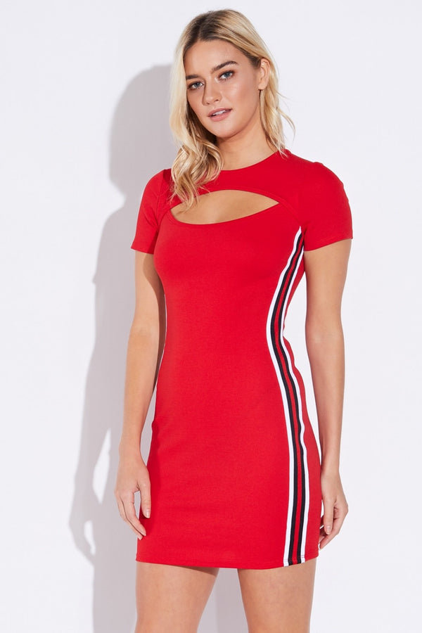 Racey Mini Peekaboo Dress in Red | Necessary Clothing