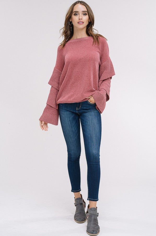 It Comes In Waves Sweater in Rose