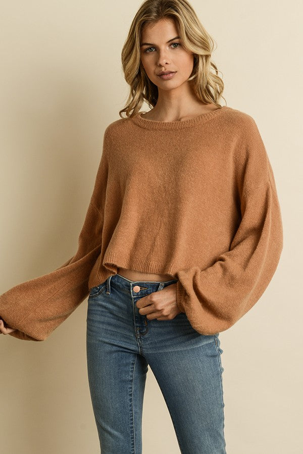 Blowing Bubbles Cropped Sweater in Sand | Necessary Clothing
