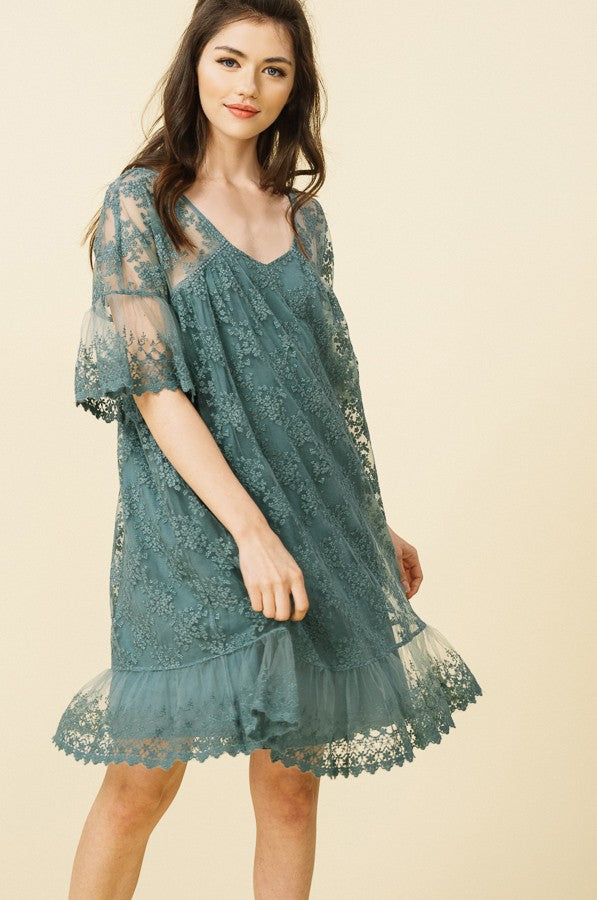 Floral Embroidered Ruffle Dress in Sage | Necessary Clothing