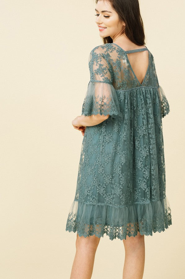 Floral Embroidered Ruffle Dress in Sage