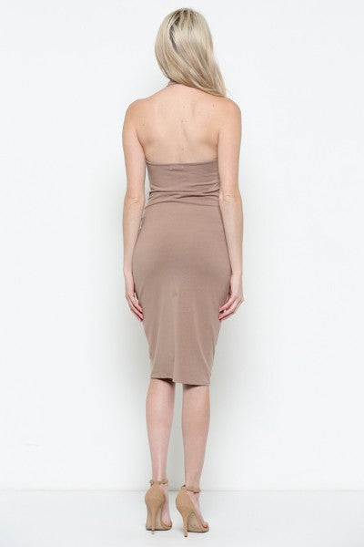 Cross My Heart Midi Dress in Taupe