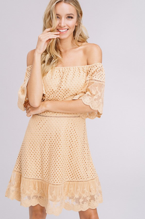 Ladder Lace Dress in Tangerine