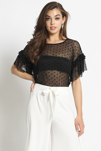 Not Meshing Around Polka Dot Ruffle Sleeve Top in Black