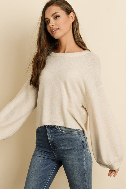 Blowing Bubbles Cropped Sweater in Cream | Necessary Clothing