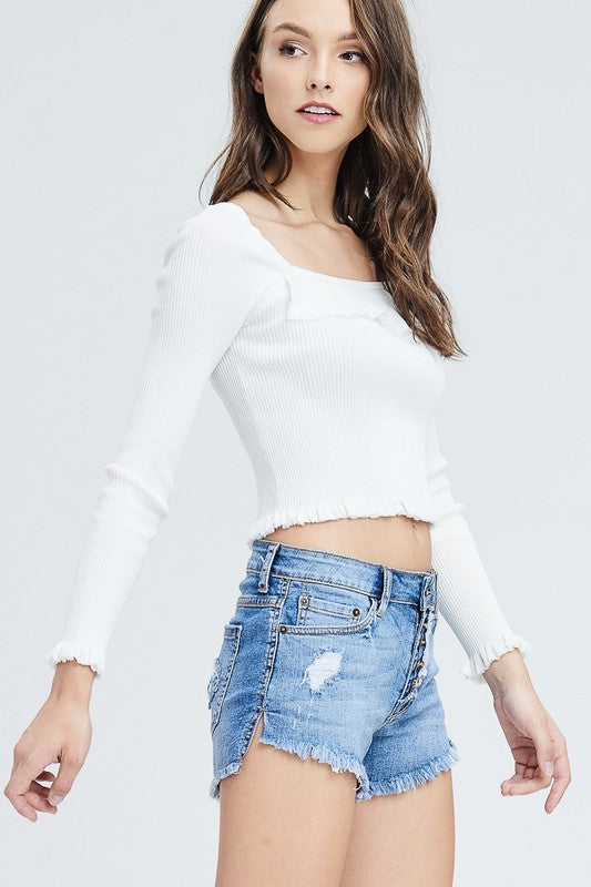 Plain And Simple Long Sleeve Top in White | Necessary Clothing