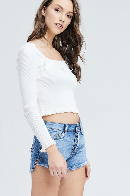 Plain And Simple Long Sleeve Top in White