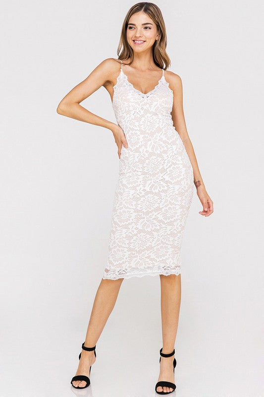 Lace Of The Mondays Midi Dress in Ivory
