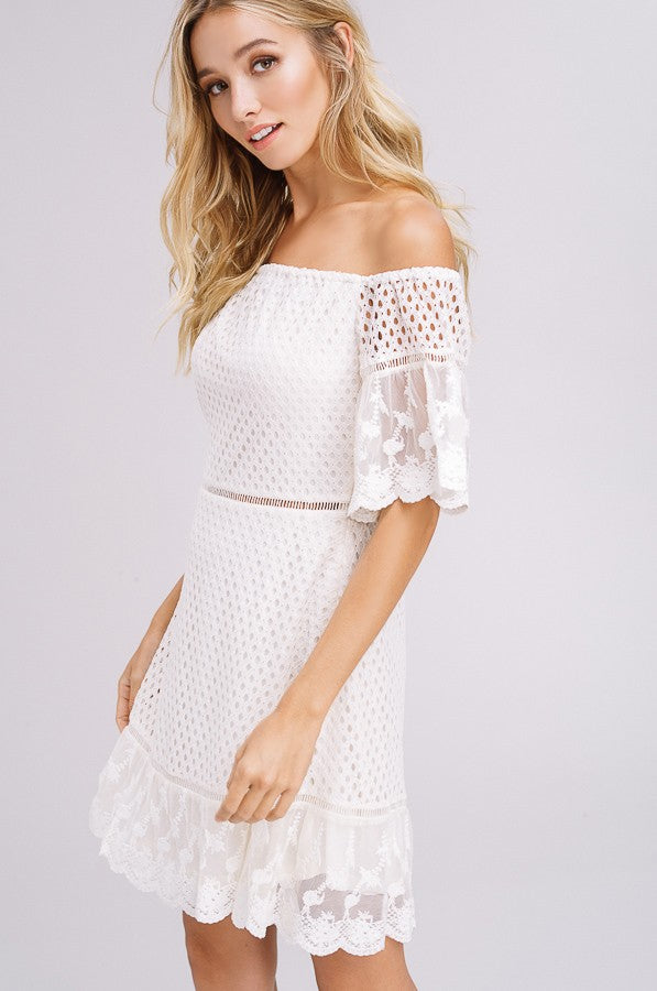 Ladder Lace Dress in White | Necessary Clothing