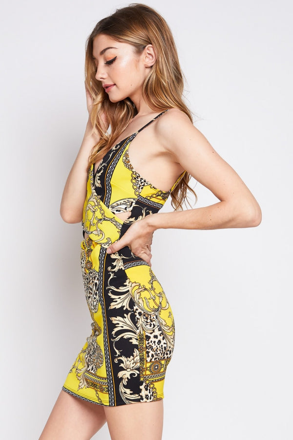 Modern Elegance Printed Dress in Yellow