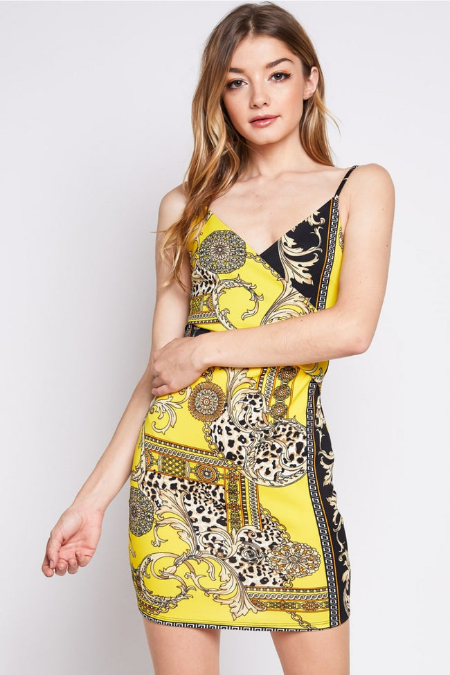 Modern Elegance Printed Dress in Yellow | Necessary Clothing
