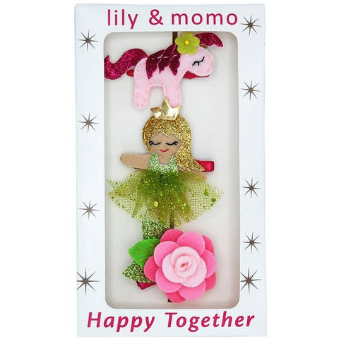 Flower Princess Trio Hair Clips