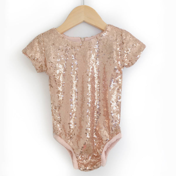 Sequin Leotard with Short Sleeves- Rose Gold