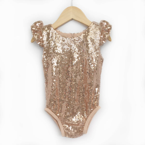 Sequin Flutter Sleeve Leotards- Rose Gold