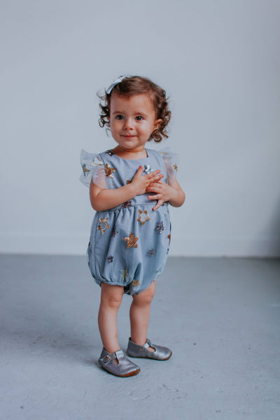 Gray Tulle and Sequin Star Romper