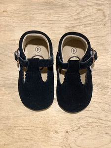 Black Suede T Bar Moccasin (size 3 & 4)