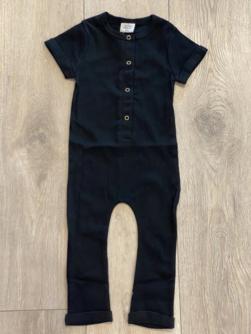 Ribbed Henley Romper Black