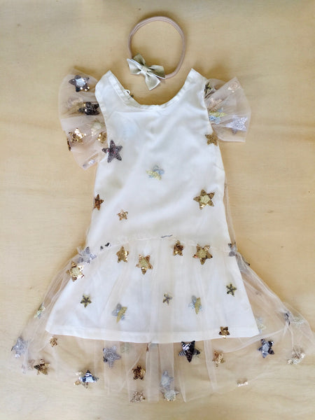Ivory Tulle and Sequin Star Dress