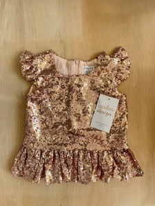 Sequin Peplum Top- Rose Gold