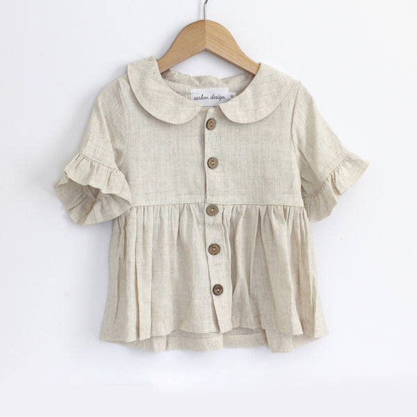 Linen Ruffle Sleeve Top