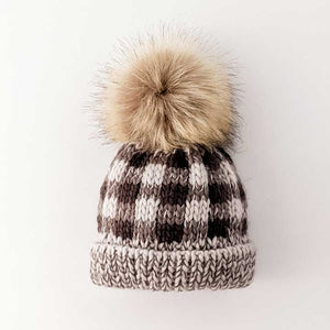 Buffalo Check Fur Pom Pom Beanie