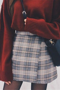 Hip plaid casual skirt RS006