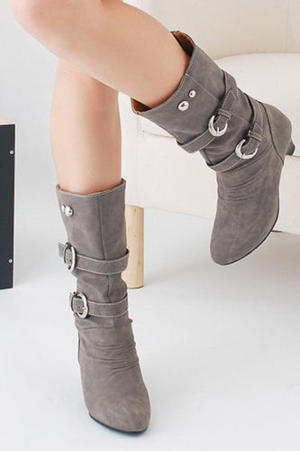 Plain Mid Heeled Velvet Round Toe Casual Outdoor Knee High High Heels Boots