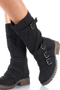 Plain Flat Round Toe Casual Date Outdoor Flat Boots