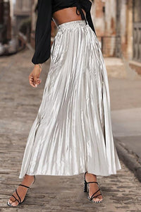 Fashion Solid Pleated Skirt