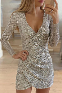 Sexy Sequin Deep V Long Sleeves Fitted Dress