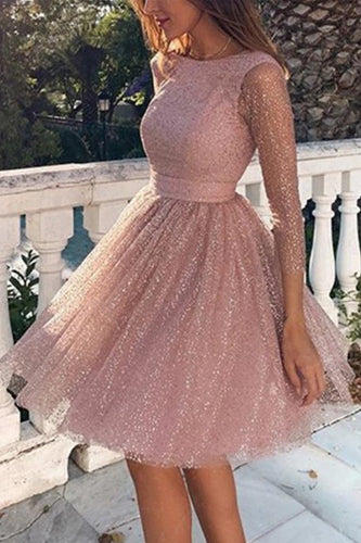 Shiny Round Neck Long Sleeve Hot Diamond Sequined Perspective Dress