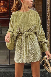 Fashion Round Neck Lantern Sleeve Sparkling Dress