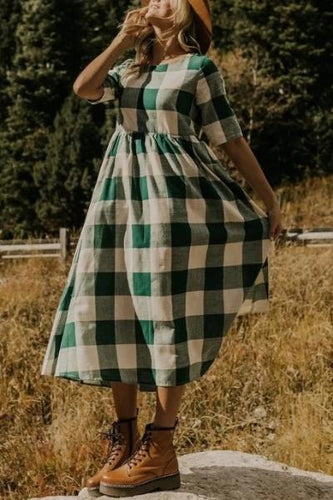 Women's Plaid Round Neck Casual Dress